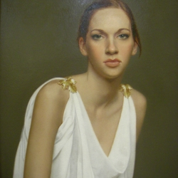 Girl In White 18 x 14 oil by Emily Gordon $3,500_SOLD