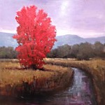 Red Tree 24 x 24 oil by Simon Wingar_ $2,500_ Sold