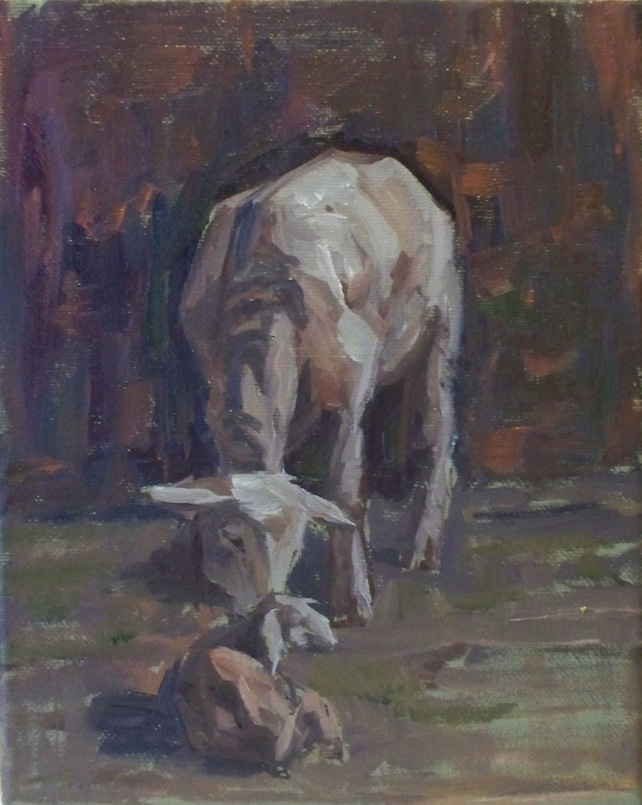 Mother and Baby  #2 _ 8 x 10 oil_ $375  - Copy