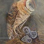 Barn Owl Family Watercolor_websize_Stephen D. West $700
