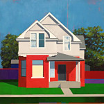 Red and Gray Justin Wheatley 35x35 Acryli8c $2500.00