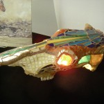 Skull Lamp Mosaic stained glass mixed media Jared Wiberg _$5,000 - Copy
