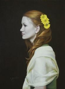 The Listener  9 x 12 oil on canvas_(websize)_ Emily Gordon_$2,400