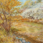 River Birch Along Mossy Stream Pastel 13 x 17 $1.400