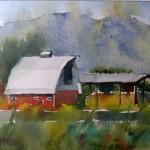 Alder's Barn II 6.75 x 9.5 watercolor $275 by Laura Hawley (2)
