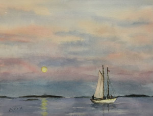 A Boat At Sunset 13 x 10 by Eiko Anderson $300