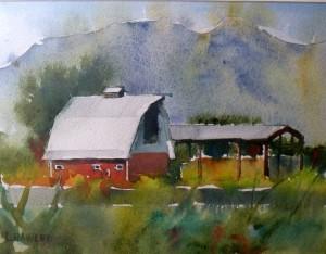 -Alder's Barn II 6.75 x 9.5 watercolor $275 by Laura Hawley (2)