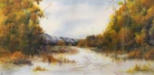 Nature's Paradigm $550 Lori Burchinal 21.5x10.25 watercolor