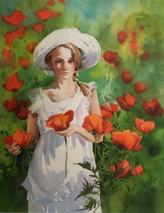 Poppies 13x17 watercolor by Jeannie Millecam 750.00 Copy - Copy