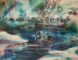 Winter Down_ 15 x 22 watercolor_ by Colleen Reynolds_$900