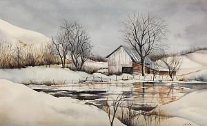 Winter Farm 12 x 20 watercolor by Lola Kartchner