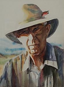 Woody_11 x 11 watercolor_by Diane Adams $400