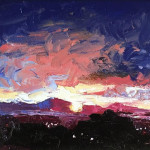 Antelope Island Sunset by Jennifer Richter 5x7 oil with Palette Knife priced at  $450