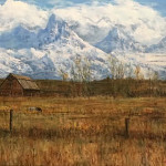 Backside of the Tetons by J Craig Fetzer 30x40 oil priced at $4,800