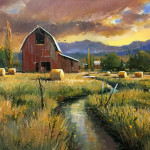 Cache Valley Farm 24 x 36 oil by David Jackson priced at $5,800