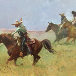 Dando Espuela (give it the spur) 16 x 24 oil priced at $3,200
