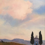 Dusk in Tuscany by Linda Morse 11 x 14 oil on board priced at $600