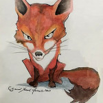 Fox by David Jacob Futile 6x9 oil pasteel & ink NFS