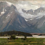 Grey Tetons by Michael Parker 8x10 oil priced at $300