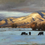 Mountainside Sunset or Cold Supper by Simon Winegar 24 x 48 oil priced at $4,200