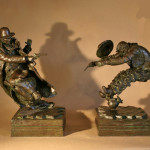 The Better Man - Wrong End Ways by Scott Rogers 5 x 17 x 12 bronze priced at $5,600
