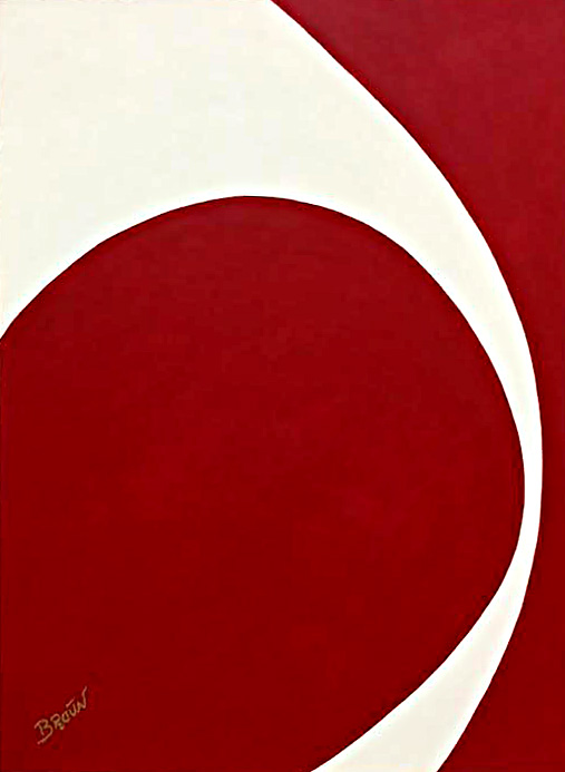 Red and White by Dick Broun 30x40 oil priced at $1,500