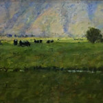 Afternoon Cows 9 x 12 oil priced at $1,250